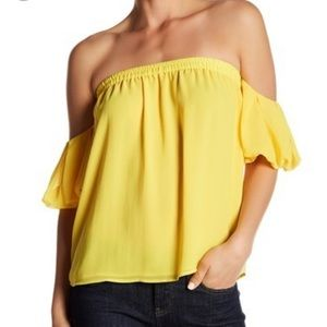 NWT Gorgeous canary yellow off the shoulder blouse